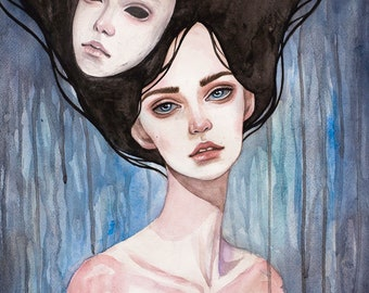 Original watercolor art. Mask.