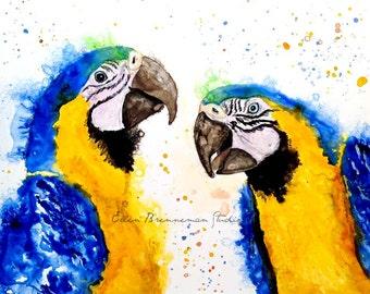 Parrot: Macaw art bird wall art tropical bird decor totem parrot print tropical decor bird wall decor parrot painting tropical animal art