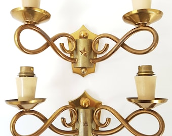Pair of bows & stars 1950 vintage 50s gilt brass