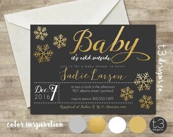Snowflake Baby Shower Invitation, Winter Baby Shower Invitation, Snowflake Invitation, Gold Winter Baby Shower, Winter Wonderland Baby