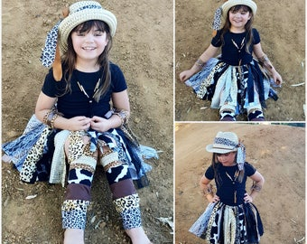 Safari Animal Print Tutu Skirt - Fabric Tutu Safari/ jungle Tutu skirt -  Animal Print Safari Fabric Tutu
