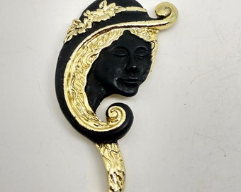 Vintage Black and Gold  Women's Head Brooch