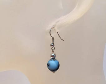 Neon Blue Pearl Earrings