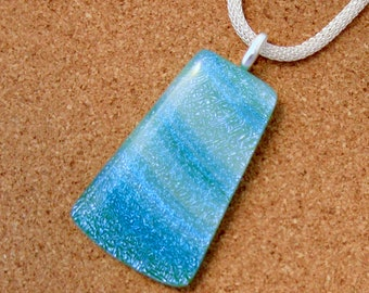Blue Green Dichroic Pendant -Dichroic Jewelry - Dichroic Necklace - Fused Glass Pendant - Fused Glass Jewelry - Fused Glass Necklace