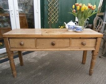 Victorian Farmhouse Pine Scullery/Serving Table - Antique