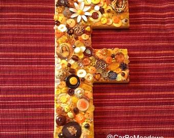 Button Wall Art / Button Letter / Button Monogram letter / Nursery Decor / Teacher Gift / House Warming Gift / Birthday