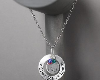 Mother Necklace, Name Jewelry, Hand Stamped Jewelry, Personalized Jewelry, Personalized mother, mommy necklace, necklace for mom, gift for