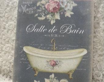 Shabby Chic Hanging Plaque Bathroom Sign, Salle De Bain
