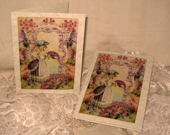 Vintage French Design Marie Antoinette Handmade Cards Adormed with Bling on Parchment ECS