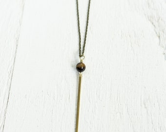 Skinny Brass Bar Drop with Tiger Eye Accent Bead Necklace || Layering Necklaces || Canadian Seller