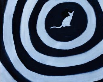 Cat Painting, Cat Aura II (Original Oil Painting), Small Painting