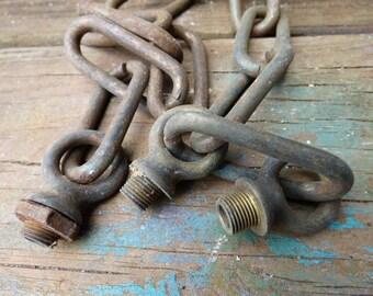 Old chandelier parts 3 screw collar loops chain links hook connector pendant lighting lamp restoration salvage supplies hardware