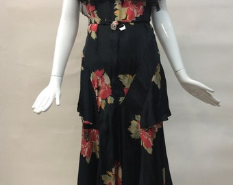 Flowy Vintage 1930s FLORAL print 30s gown DRESS tiered skirt BOW OVersized Flower on Black Ground