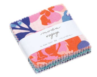 "Voyage Mini Charm Pack by Kate Spain from Moda Fabrics, 42 2.5"" x 2.5"" Squares, Floral"