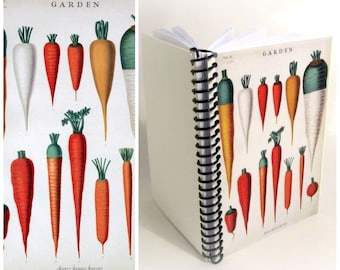 Carrots Notebook A6 Spiral Bound - Botanical Chart, Blank Sketchbook, Recipes Journal, Pocket 4x6 Inches Cute Garden Planner, Gifts Under 20