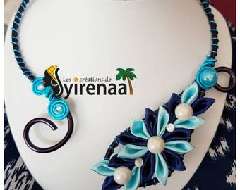 With its blue kanzashi Flower necklace