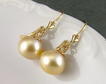 Gold South Sea pearl earrings, handmade saltwater pearl in solid 14k gold