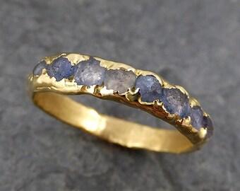 Raw Sapphire Diamond 18k Gold Engagement Ring Wedding Ring Custom One Of a Kind Blue Montana  Gemstone Ring Multi stone Ring byAngeline 0159