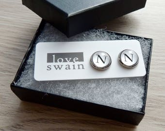 Initial earrings // Typewriter earrings // personalized earrings // Letter N earrings