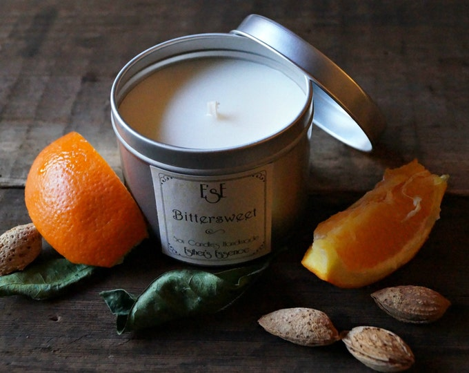 "Soy Candle. Sweet Orange Almond, ""Bittersweet"", 6oz, Tin candle, Scented Candle, Home Decor, Natural Scent, Luxury Favors, Wedding"