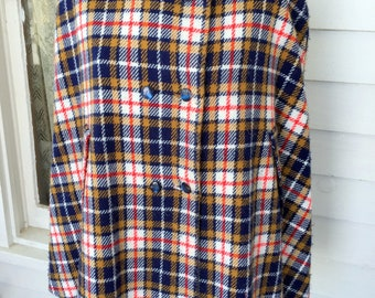 Vintage Plaid Poncho Cape Scarf Wrap Cover Blue Red Gold With Buttons