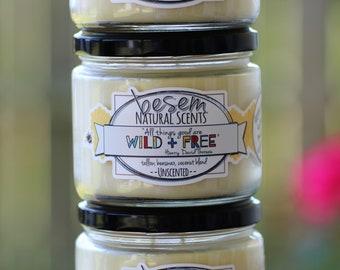 Bienenwachskerze / / Unscented, wild + frei, handgefertigte Talg Bienenwachs Kerze