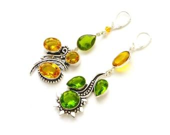Citrine earrings Mismatched earrings Chandelier earrings Peridot earrings Asymmetric earrings Prom earrings Gypsy earrings Shoulder duster