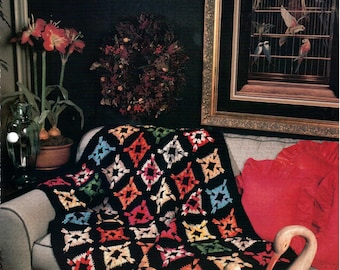 Vintage Annie's Attic Thoroughly Modern Granny Crochet Afghan Pattern - Granny Square, Bitcoin Accepted