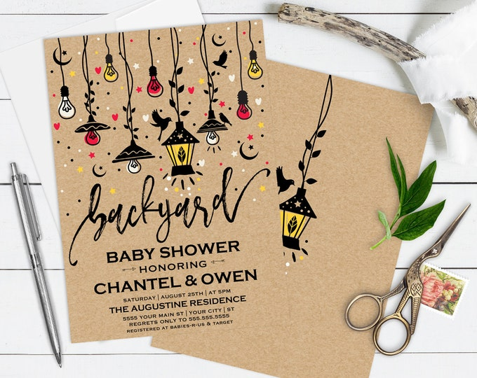 Backyard Baby Shower Invitation, Backyard Shower, BBQ Shower, Grill & Chill Shower | Editable Text - Instant Download PDF Printable