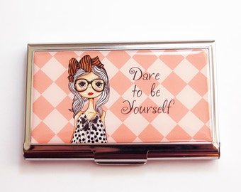 Business Card Case, Card Case, business card holder, Be Yourself, Orange, gift for her, Dare to be yourself, Inspiration (3658)