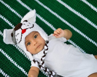 Puppy love white puppy hat with earflaps and braided tassels