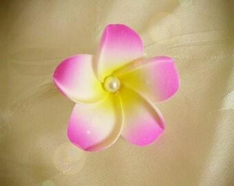Fuchsia frangipani flower hair clip
