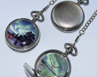 Northern light, Aurora borealis,  on pocket watch