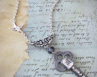 Steampunk necklace  - Vintage Key - antique skeleton key - Repurposed Art