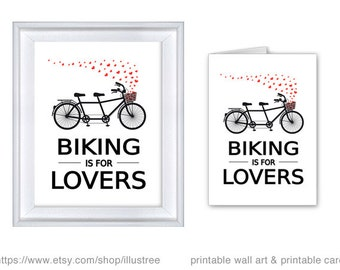 Biking is for lovers, digital art print, unique wedding gift, gift for couple, printable wall art, tandem bicycle, PDF, instant download