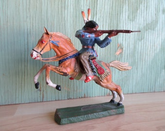 Vintage Toy Indian on Horseback, 1940s Elastolin Germany Native American Toy Soldier with Gun, Miniature Composite Cowboys and Indians Toys