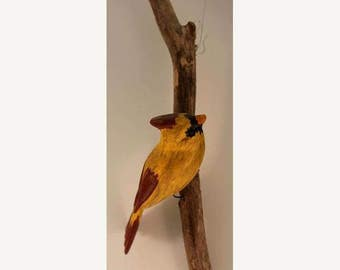 Cardinal - female right facing. Handcrafted, carved  wooden bird, painted bird, home decor, wall decor, Made in USA