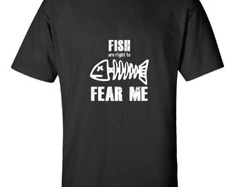 Fish Fear Me-  Tshirt Printed On Demand Gift Idea- Get it Fast