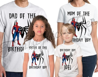 Spider-man Birthday Shirt Add Name & Age Spiderman Custom Birthday Party TShirt 03