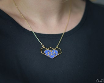 Gold plated geometric Heart Necklace and blue electric leather
