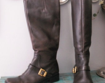 Vintage Ettenne Aigner Knee High Tall Rich Chocolate Brown BOOTS size 6 1/2
