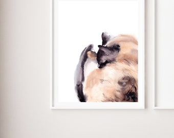 Cat minimalist fine art print, sleeping cat watercolor painting art, cat art, cat modern wall art print, giclee print of cat