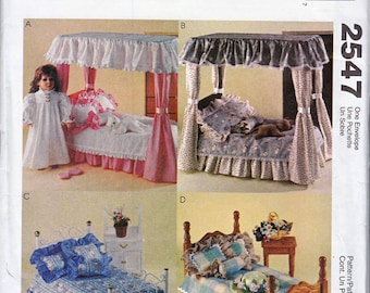 "McCall's Crafts 2547 18"" Doll Bedding, Nightgown, Kitten, Slippers - Sewing Pattern"
