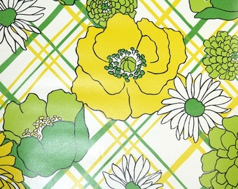 Retro Wallpaper by the Yard 70s Vintage Wallpaper - 1970s Yellow Green and White Flowers on Plaid