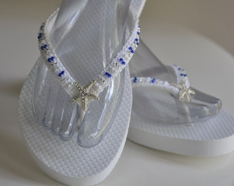 WEDDING Flip Flops!Bridal Flip Flops.Bridal Shoes.Beach Wedding Sandals.Bridal Sandals.Rhinestone Starfish Sandals.Destination Wedding.