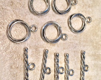 Sterling Silver Toggle Clasp-Set of 5