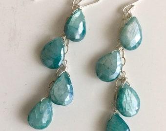 Aqua Blue Moonstone Cascade Earrings, Metal and Earwire Options, leverback earrings, Mermaid Earrings