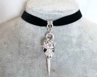 Necklace - Choker - Skull Necklace - Bird Skull Velvet Choker - Gothic Choker - Steampunk Choker - Rock Chick -