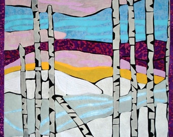 Quilted Wall Hanging, Fabric Art, Art Quilt, Textile Art, Fibre Arts, Fabric Art Quilt, Linda Voth, Winter Birches, Stained Glass Quilt
