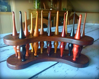 Handmade Wooden Crochet Hook Stand / Caddy